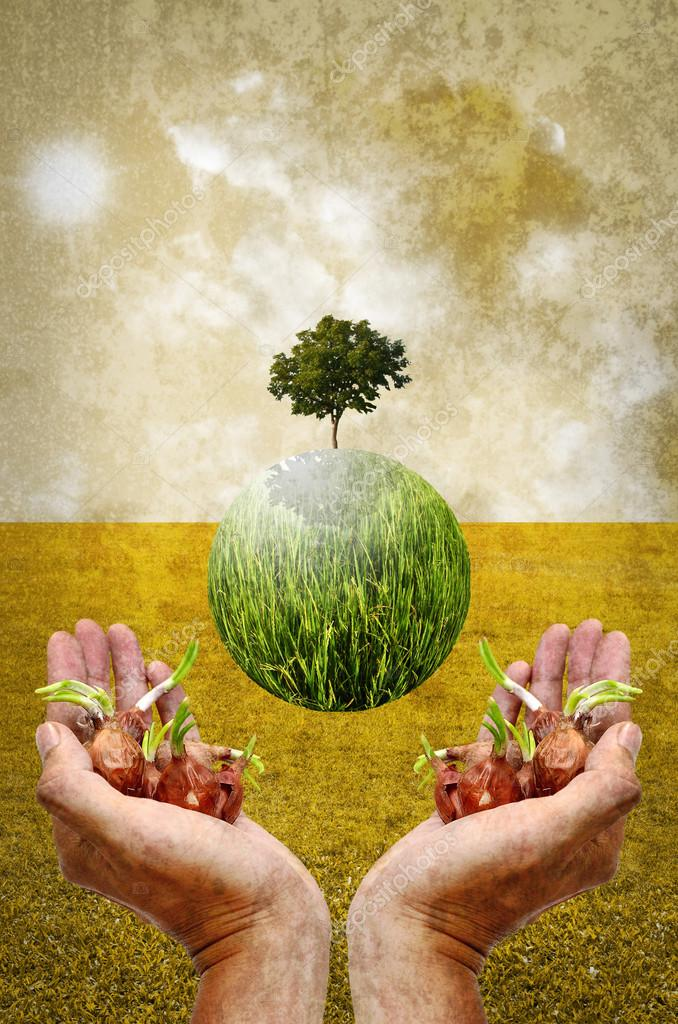 Help the earth by planting tree concept in vintage style
