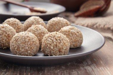Homemade dessert with sesame seeds