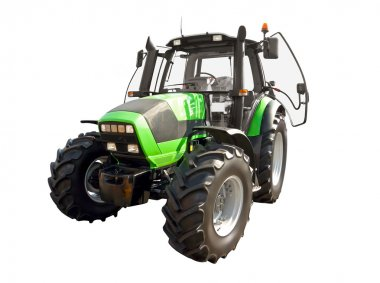 Green farm tractor on a white background stock vector