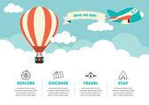 Fotografia layout sito Web con icone di viaggio