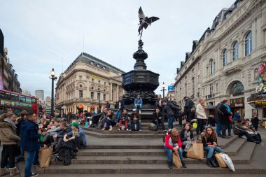Piccadilly Circus in London. Memorial fountain with Anteros
