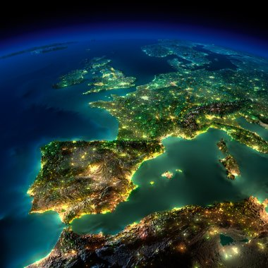 Highly detailed Earth, illuminated by moonlight. The glow of cities sheds light on the detailed exaggerated terrain and translucent water of the oceans. Elements of this image furnished by NASA stock vector