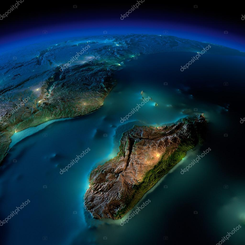 Night Earth. A piece of Africa - Mozambique and Madagascar