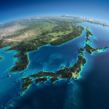 Detailed Earth. Japan and Korea