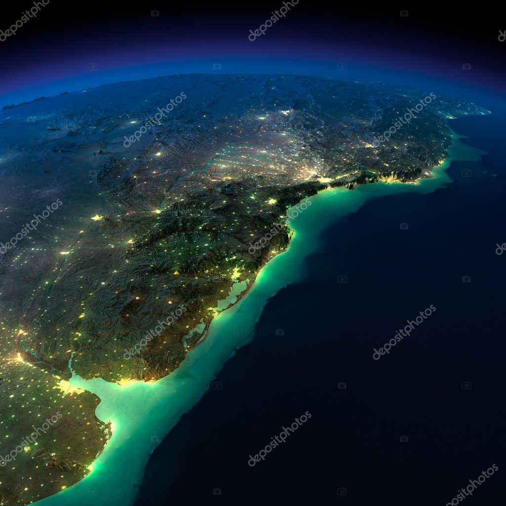 Night Earth. A piece of South America - Argentina and Brazil