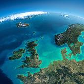 részletes föld. Egyesült Királyság és az Északi-tenger