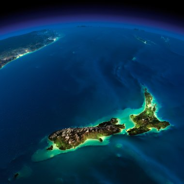 Night Earth. Pacific - New Zealand