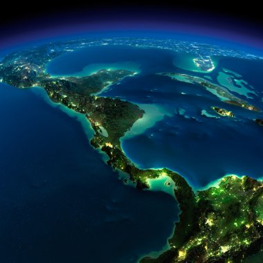 Night Earth. The countries of Central America