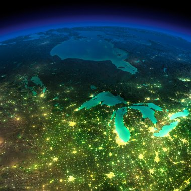 Night Earth. A piece of America - the northern U.S. states and C