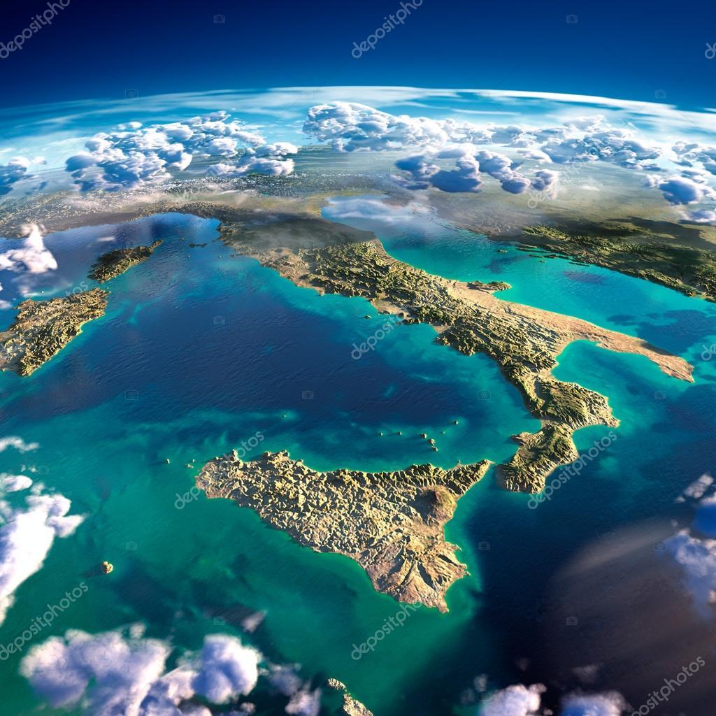 italia y el mar mediterrneo u foto de stock