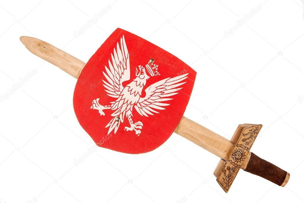 木のおもちゃの剣と盾ポーランド...