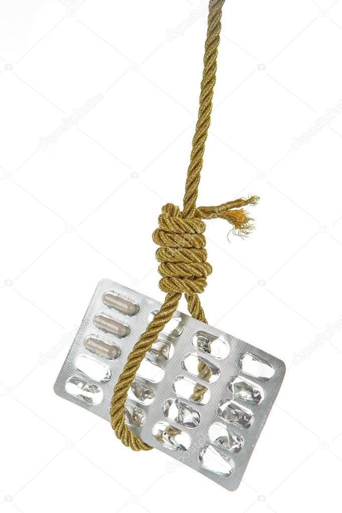 verwendete Packung Pillen hängen gold Seil Schlinge des Henkers ...