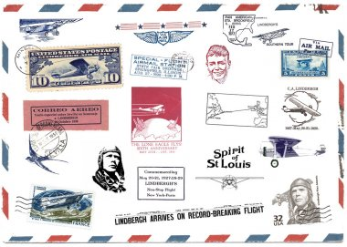 Postage stamps and airmail labels about Charles Lindbergh