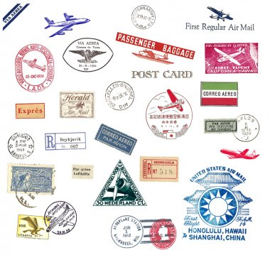 Vintage airmail labels and stamps