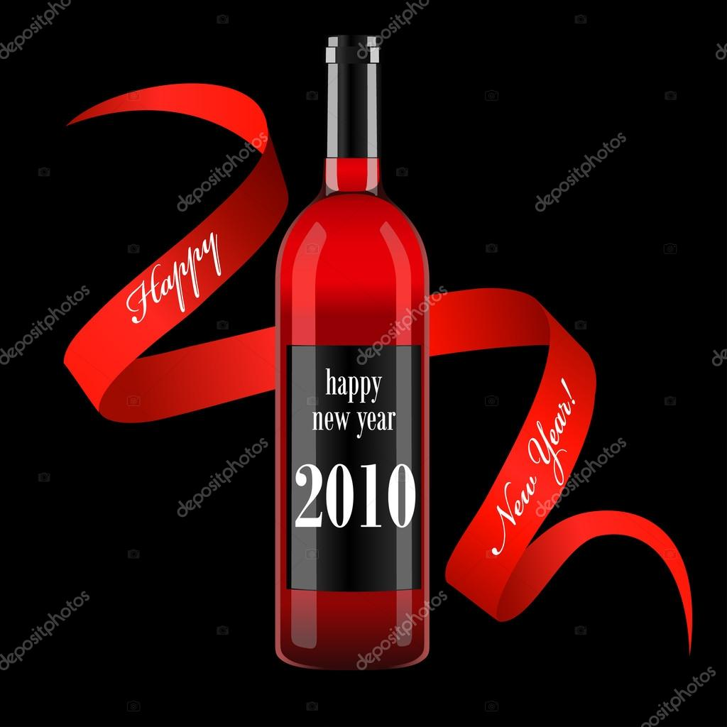 wine bottle with blank label and ribbon stock vector