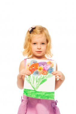 Little blond girl showing her picture