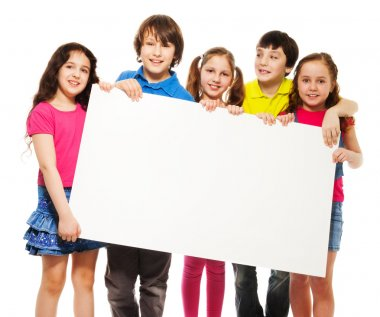 Happy smiling group of kids, friends, boys and girls, showing blank placard board to write it on your own text isolated on white background stock vector