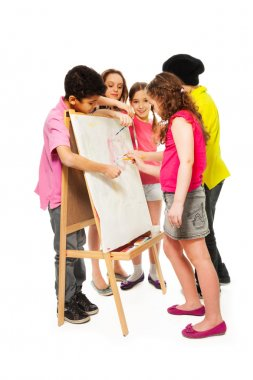 Five kids painting