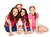 Fotografia ragazze di quattro bambini in rosa