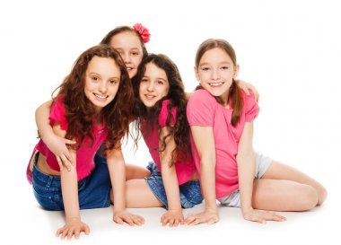 Four kids girls in pink
