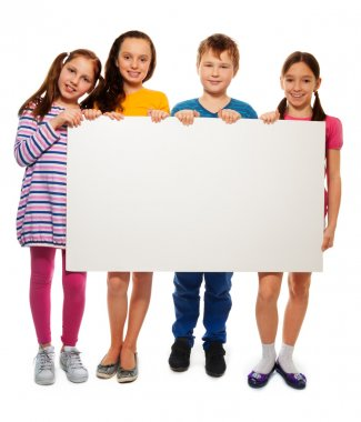 Four kids showing board with advertising