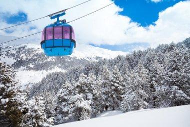 Closeup of ski lift cable car