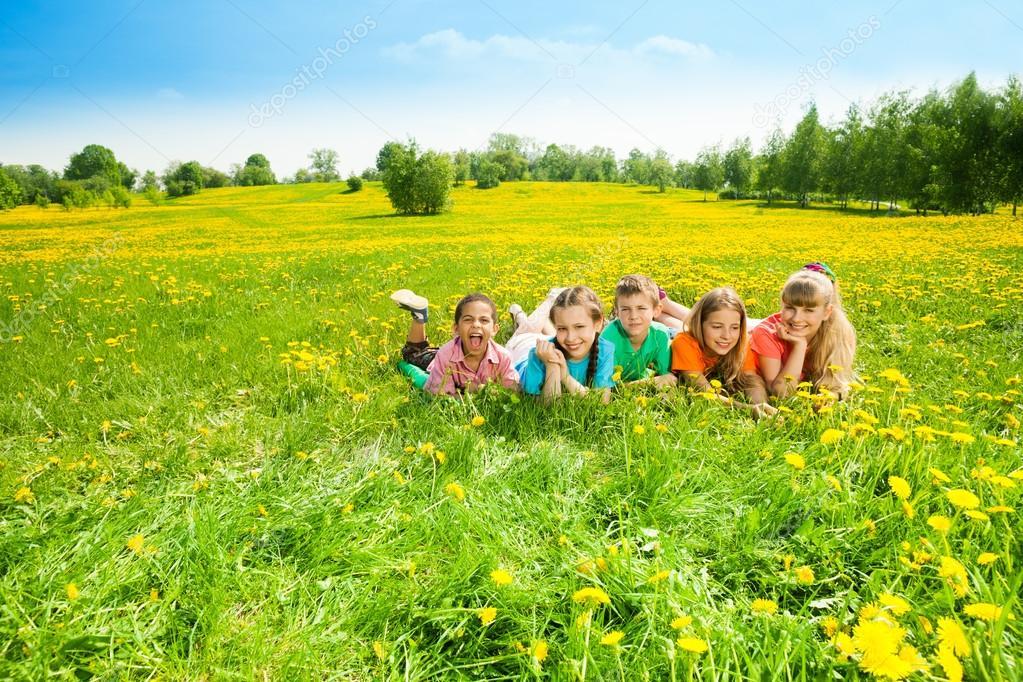 Kids in flower field