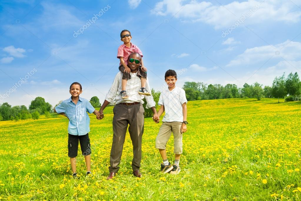 Happy father with his boys