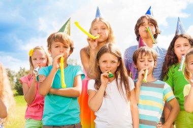 Many kids on birthday party