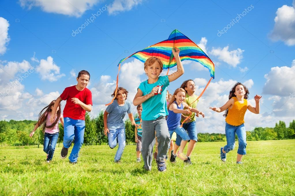 Boys and girls with kite