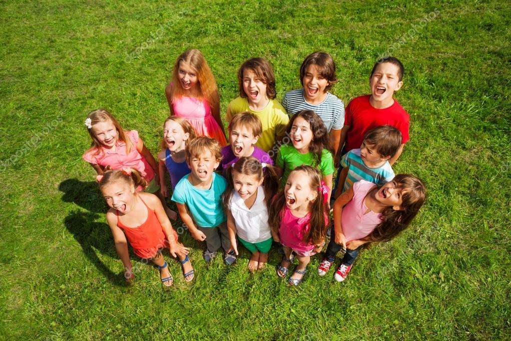 Many kids on the grass