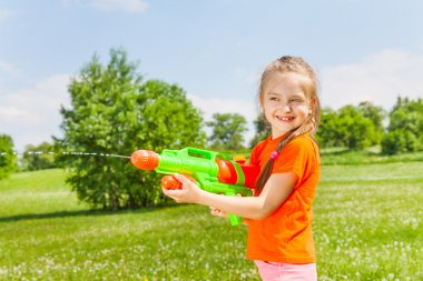 Girl with water gun