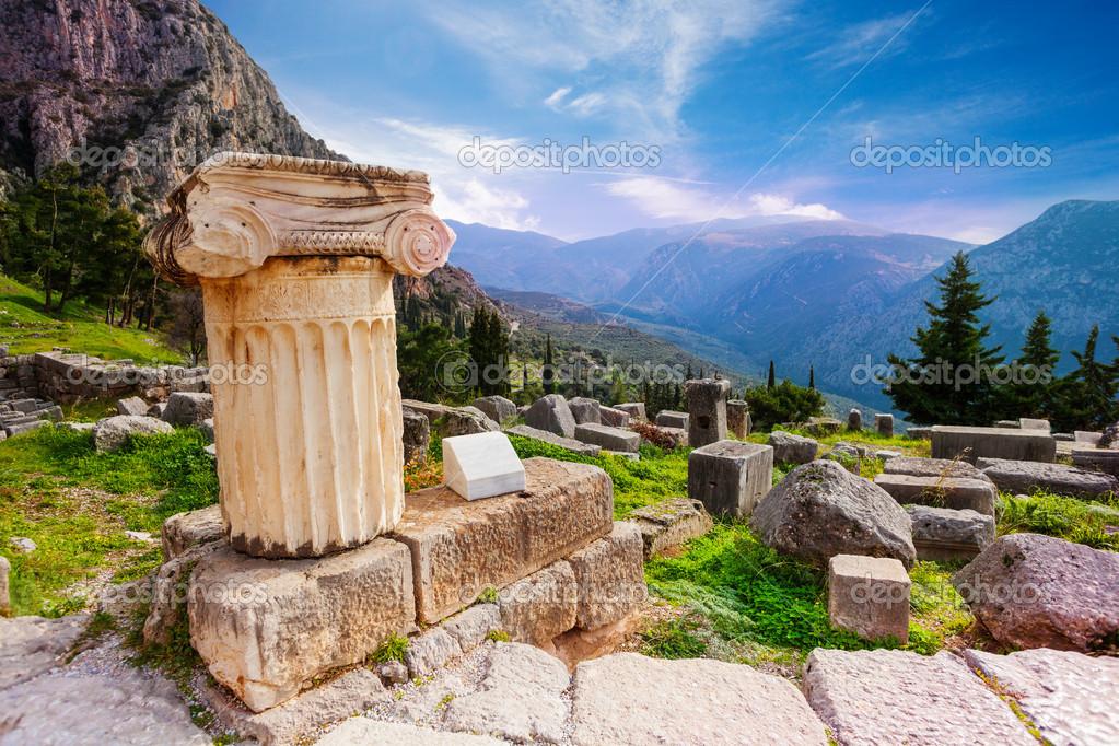 Ancient column in Delphi