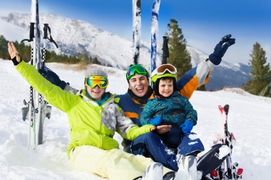 Family after skiing