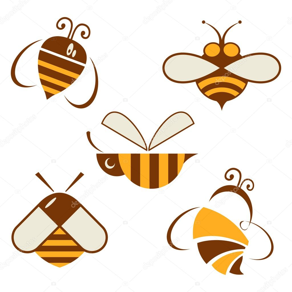 Set of vector signs bee. apiary