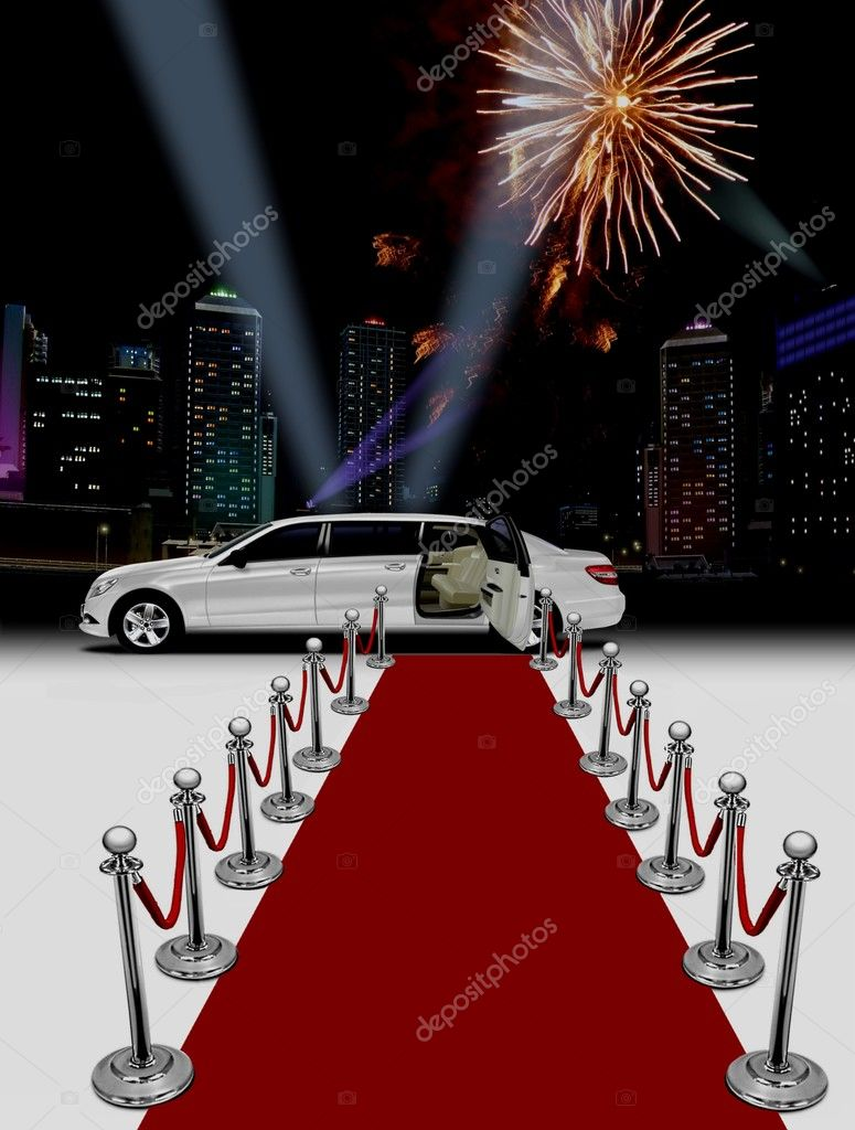 White limo and red carpet