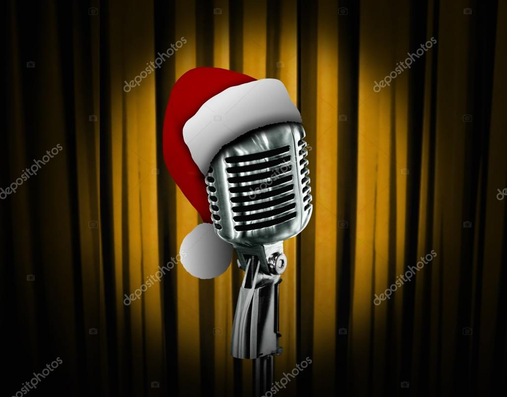Retro microphone with Santa hat