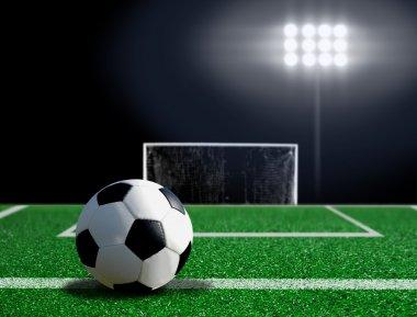 Soccer ball free kick on grass