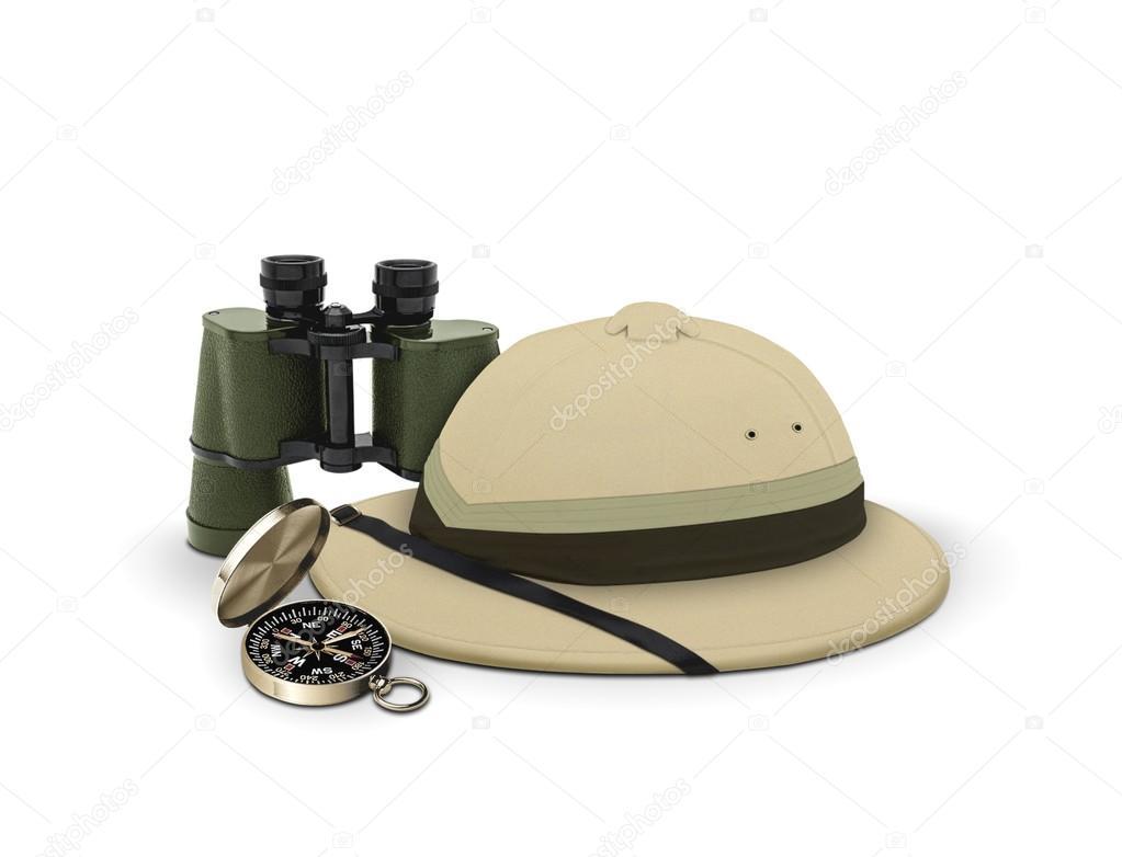 attrezzature e cappello esploratore — Foto Stock © razihusin  18067573 8af1b6eaab16