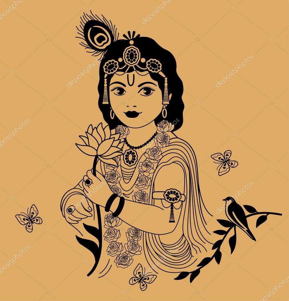 depositphotos 39716191 stock illustration little krishna