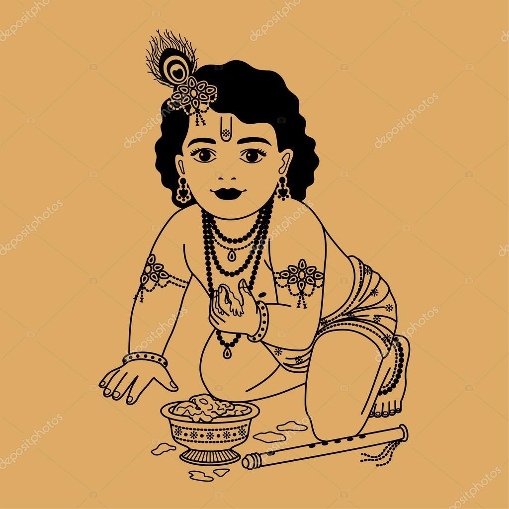 depositphotos 39787271 stock illustration little krishna with plate