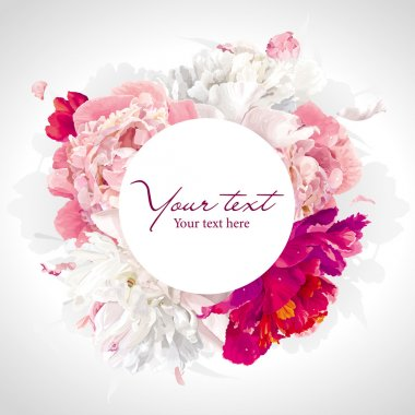 Luxurious pink, red and white peony background with a round label stock vector