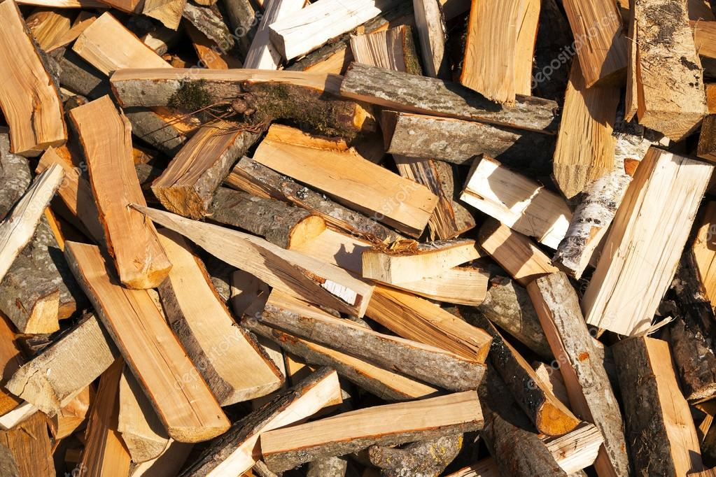 The cut-down firewood