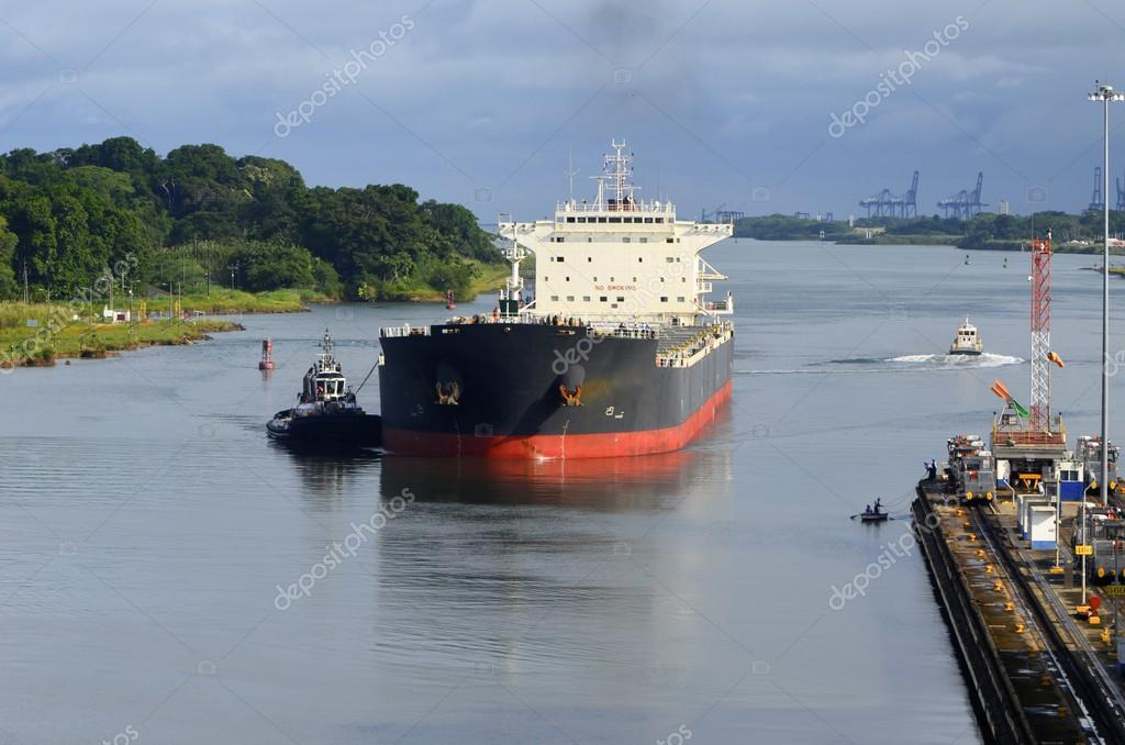 Westbound Oil Tanker Entering the Panama Canal