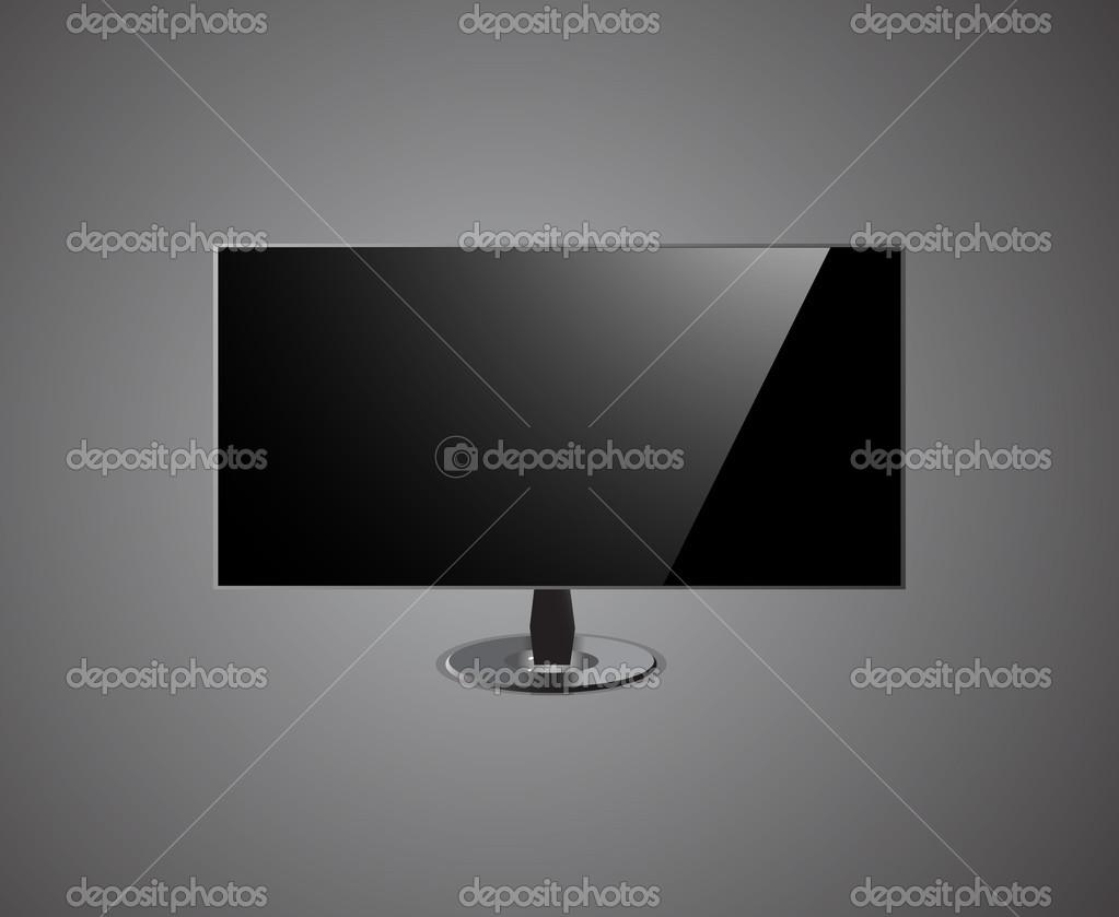 Schermo Tv Che Hd Isolato Su Sfondo Grigio Vettoriali Stock