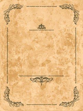 Vintage design elements on old paper sheet stock vector