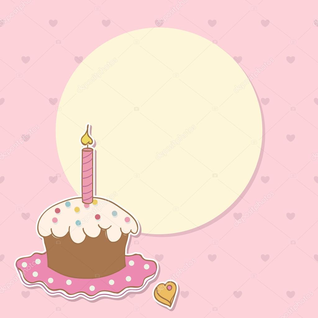 birthday background with girl and cake stock vector yaviki 16264573