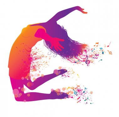 Active Jumping and Dancing Young Woman. Abstract Music Banner.