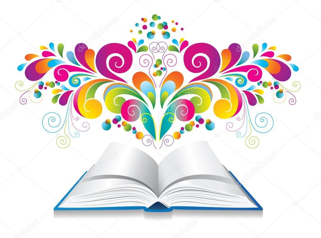 Libro colorido abierto | libro abierto con rizo y salpicaduras de ...