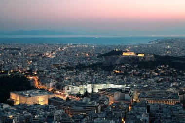 Night view of the Acropolis, Athens, Greece